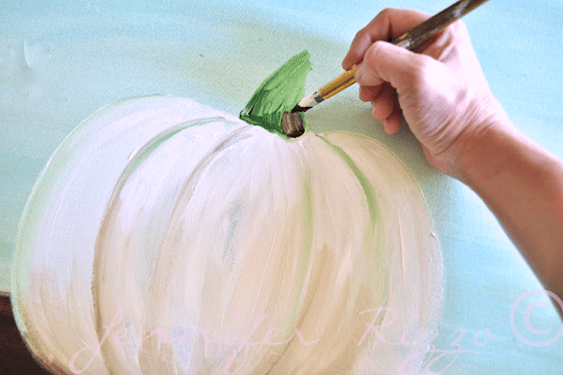 Add a low light to the back of the pumpkin stem