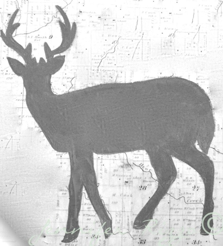 Deer silhouette free printable for art and mixed media home decor projects