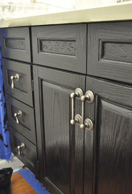 Bathroom cabinet painted in rustoleum flat black