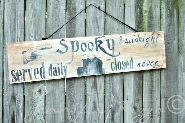 Make a spooky wood Halloween sign with your inkjet printer,water and paint.