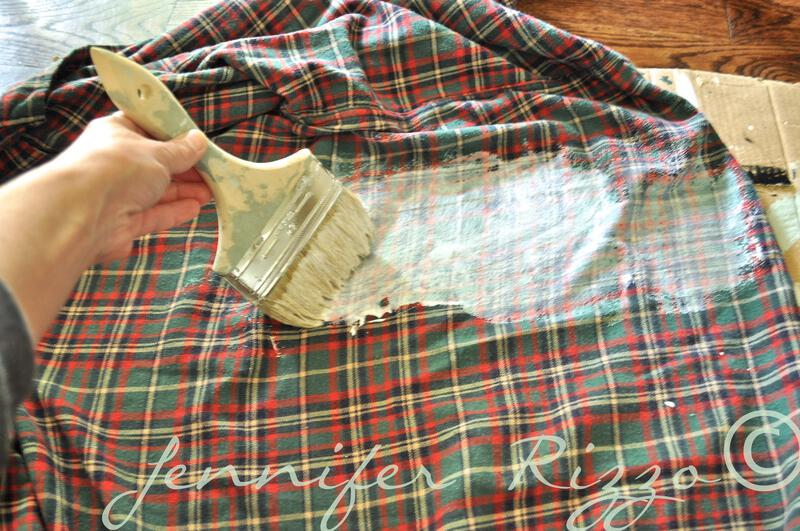 Using decoupaage meium on a plaid shirt to make a banner