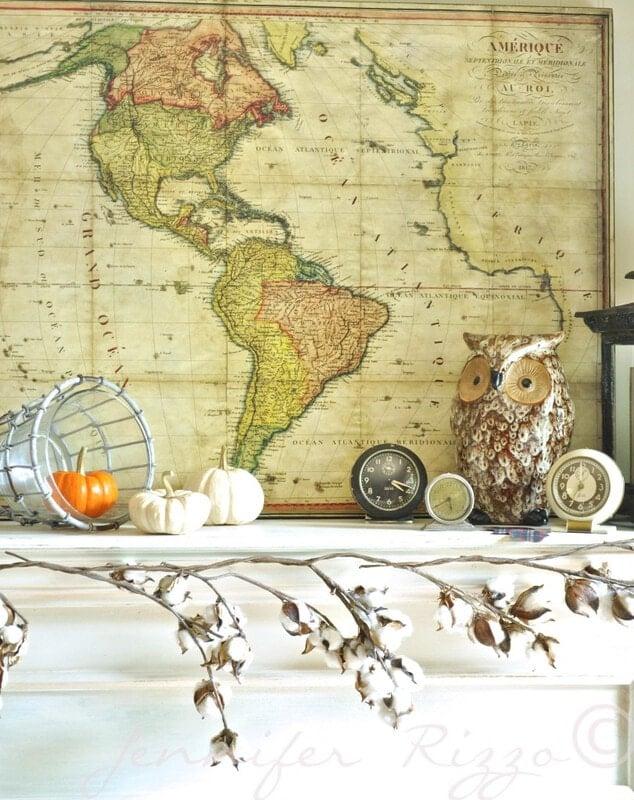 Owl and clocks for fall decor