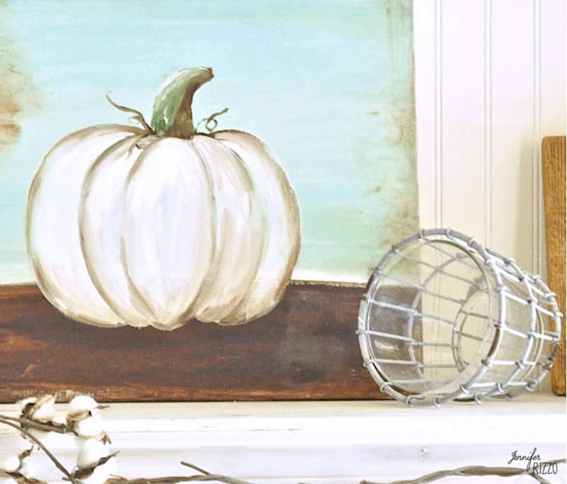 Easy canvas to paint a white pumpkin DIY
