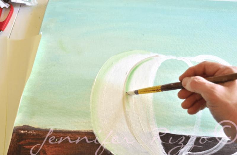 Use green paint to define a pumpkin rib