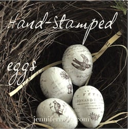 Hand-stamped eggs…..