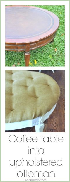 Coffee table made into an upholstered ottoman