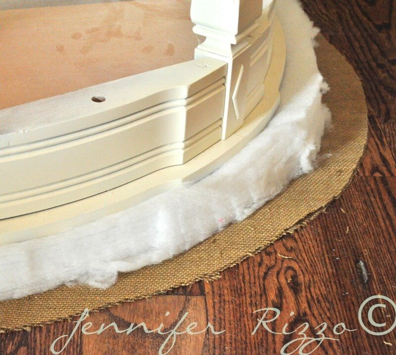 make tufted ottoman with burlap and padding