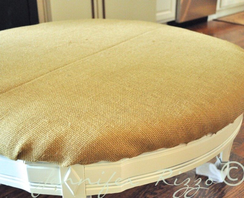 an upholstered sturdy vintage coffee table to save a damnged top