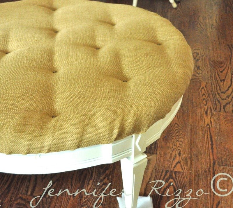 Turn a vintage coffee table into a new tufted ottoman, with tutorial!