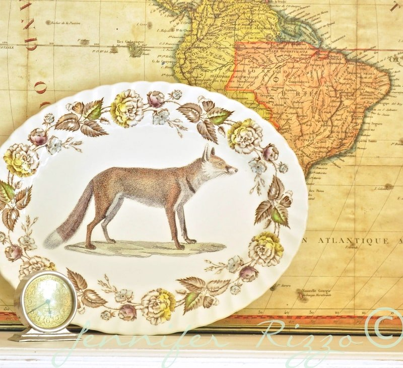 How to upcycle a vintage serving platter…. inspired easy decorative fox platter…..