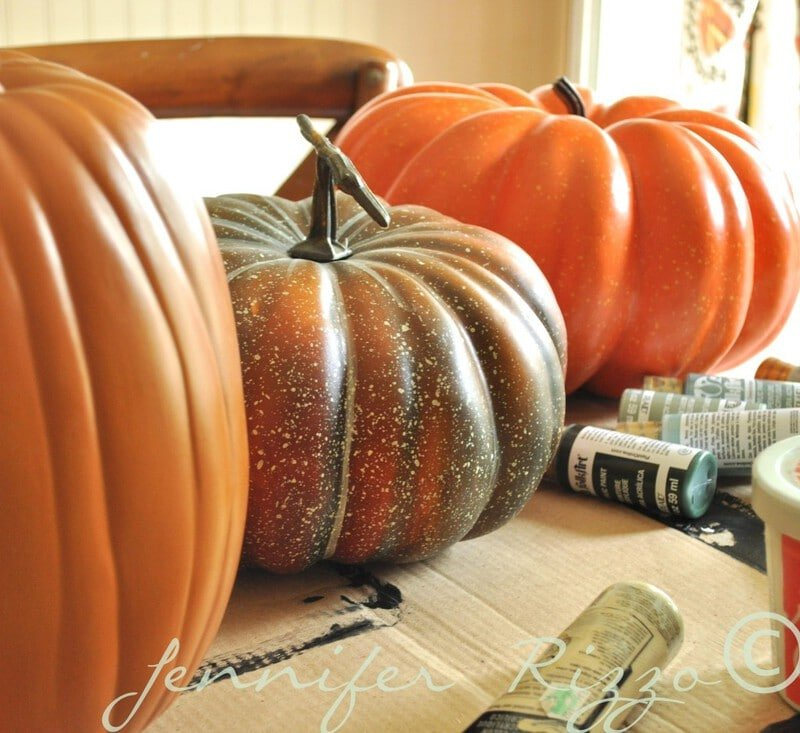 Paint your fake pumpkins to look real