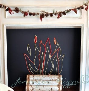 fun yarn insert for your fake mantel