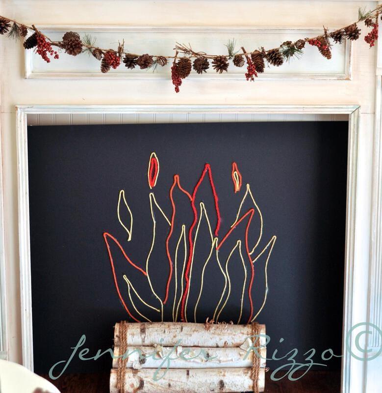 How to make a fun yarn fireplace insert…