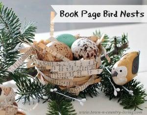 DIY book page bird nests…..