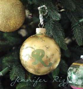 Use gold leafing to make a monogrammed ornaments