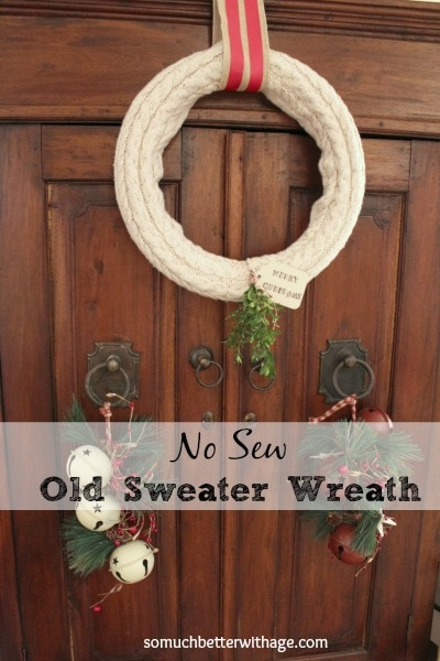 Make a cute,upcycled wreath from an old cable-knit sweater…..
