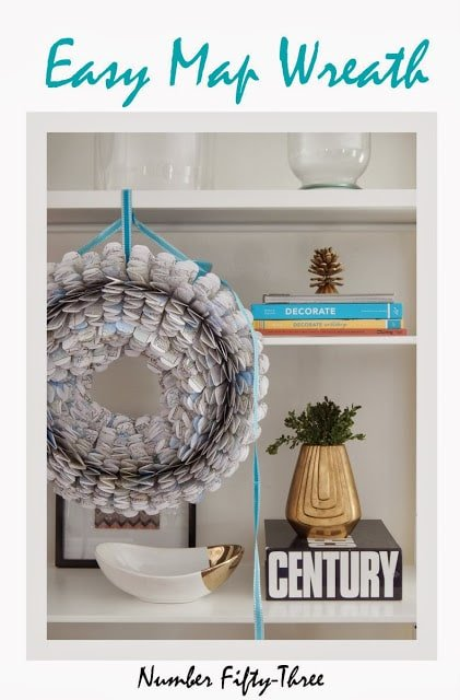 Make an easy paper wreath using an old street atlas…..