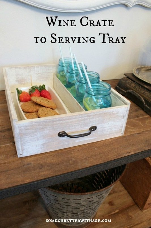 Turn an old wine crate into a new serving tray…