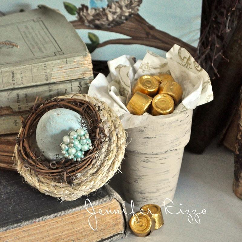 Make nest-inspired flower pot treat boxes…..