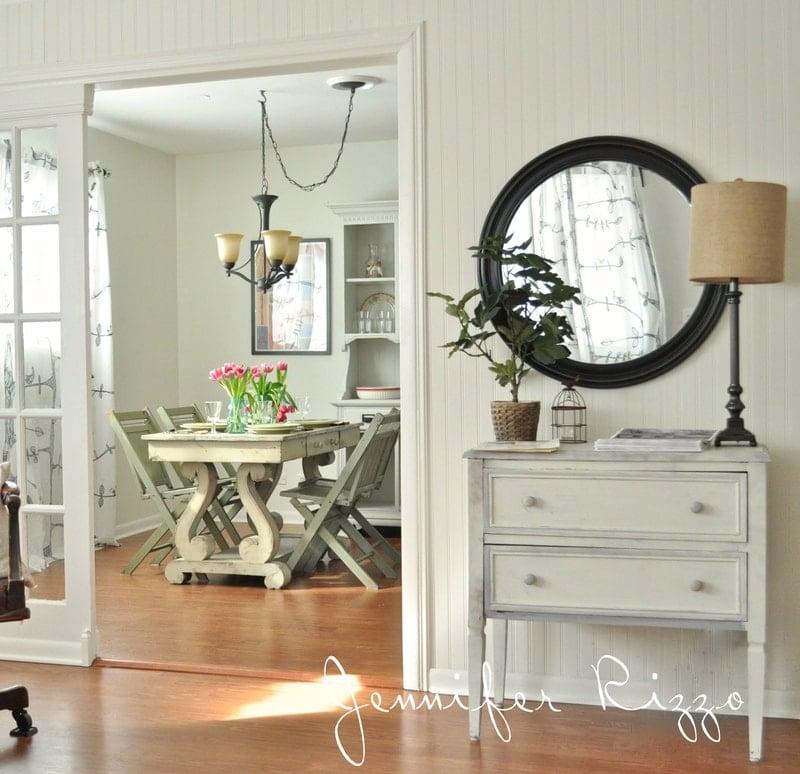 Farmhouse living room with beadboard wallpaper
