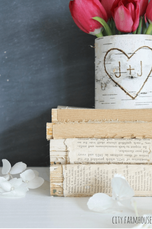 Book stamp and cute inital vase City Farmhouse