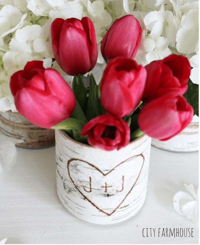 Cute DIY birch bark vase by City Farmhouse