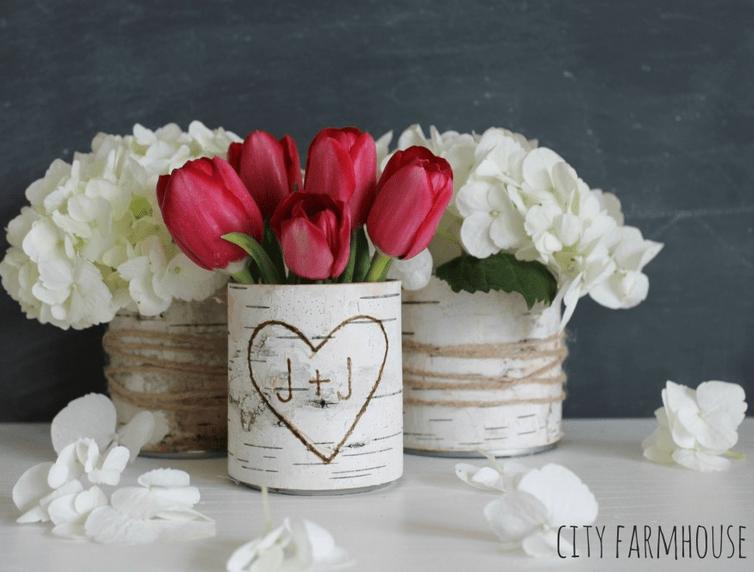 Cute set of birch bark wrapped vases City Farmhouse