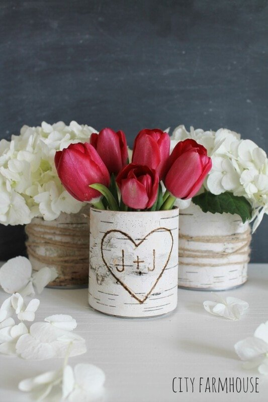 Make DIY birch bark vases
