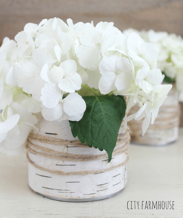 DIY birch bark vase and twine wrap City Farmhouse
