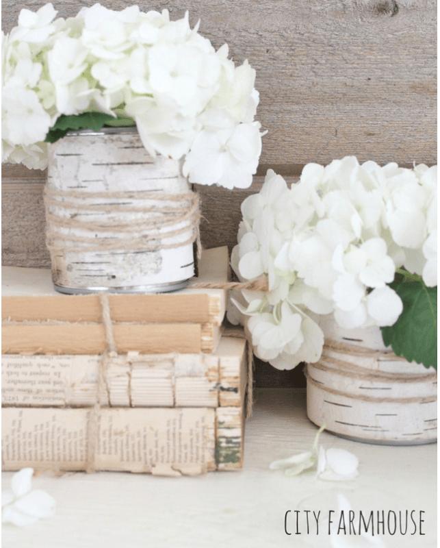 DIY birch bark vases with hydrangeas