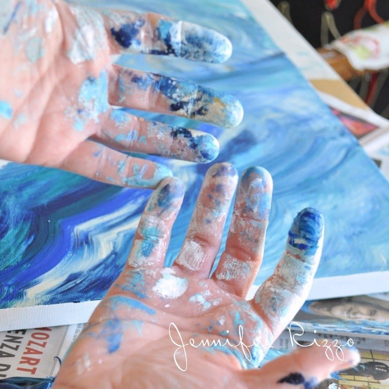 Paint covered hands Take on a new hobby with blogger burn out