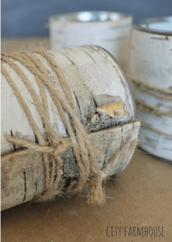 Wrap bark with twine