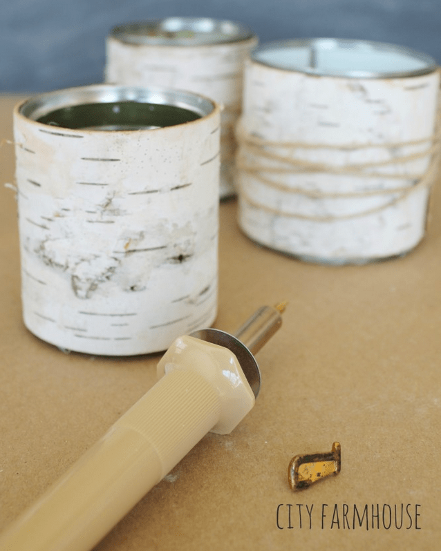 Wrap recycled cans in birch bark