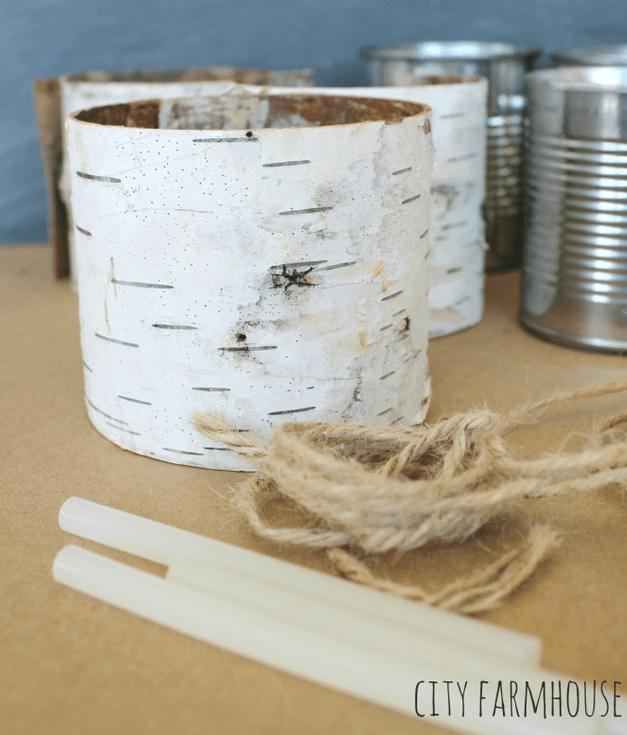 Supplies to make birch bark wrapped vases City farmhouse