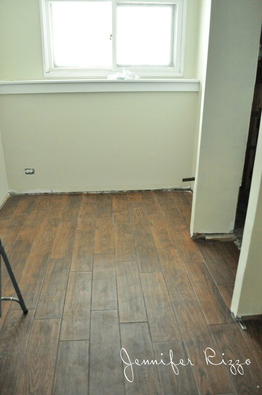 Downstairs renovation progress and our wood-look ceramic tile ...