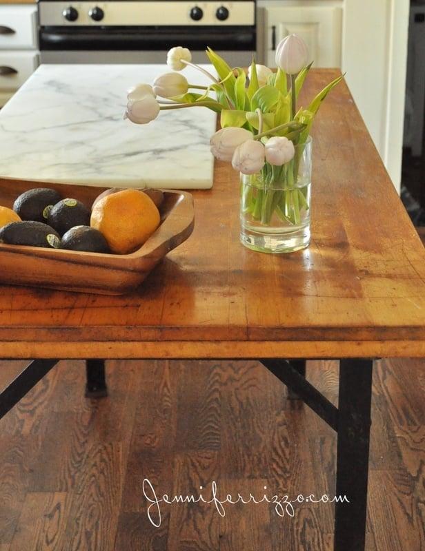 Vintage workbench turned kitchen island…