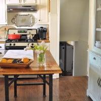 Vintage work becnh used a kitchen island
