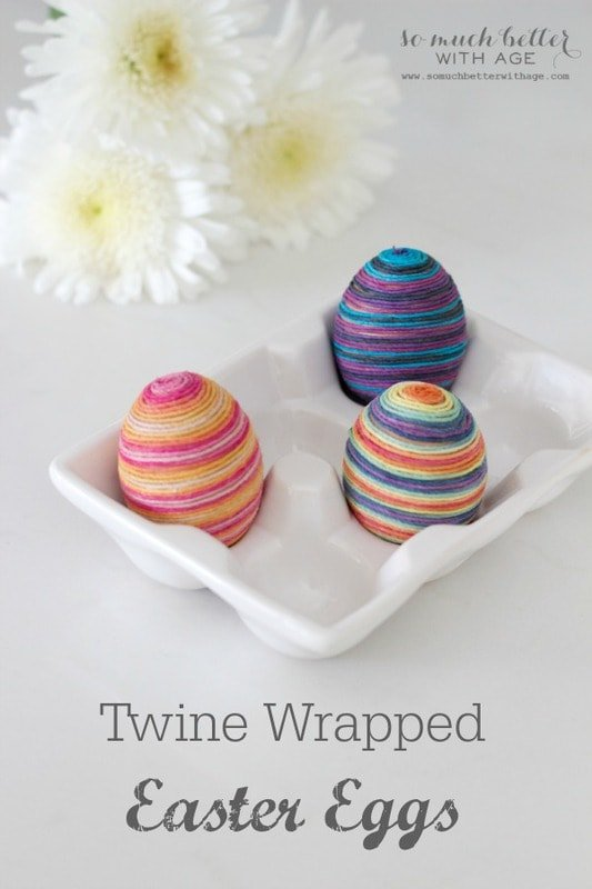 How to make bright and colorful twine wrapped Easter eggs…..