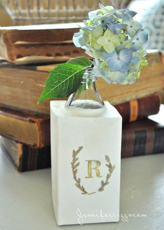 the super-fun monogrammed vase with plaster and a recycled bottle