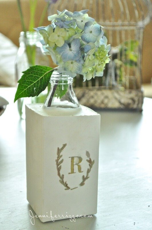 DIY monogrammed plaster vase cast in a milk carton