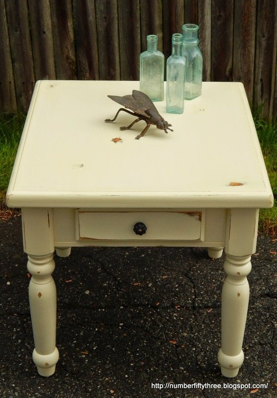 Sunny and distressed side table makeover….