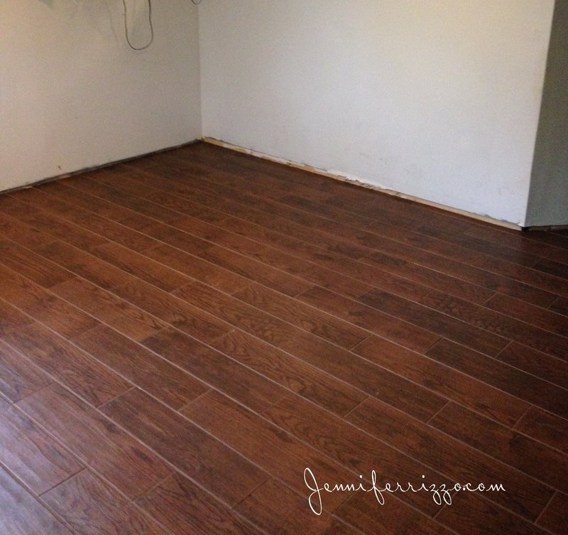 Our wood look ceramic tile is finally installed jennifer rizzo dailygadgetfo Image collections