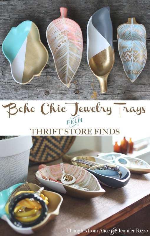 Painting DIY Bohemian Jewelry Storage Trays with Upcycled Thrift Store Finds