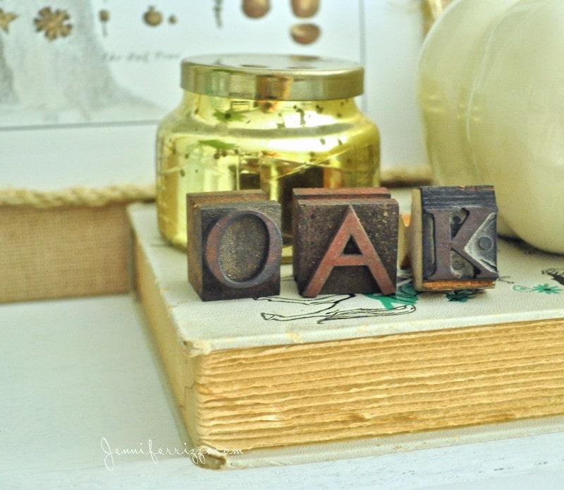 Oka leaf spelled out in printers blocks