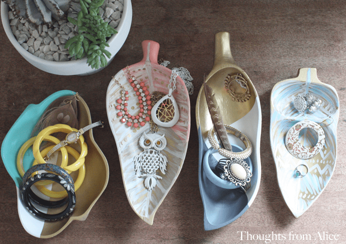 DIY boho chic trays from thrift store bowls
