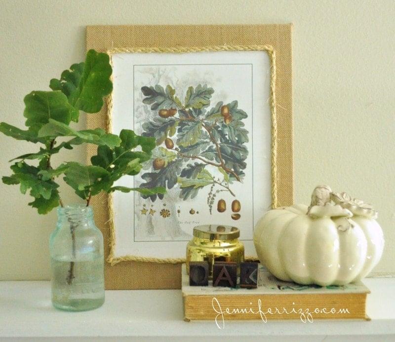 Fall vignette with oak leaf printable