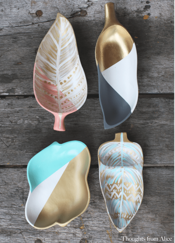 Handpainted upcycled leaf shape trays from the thrift store