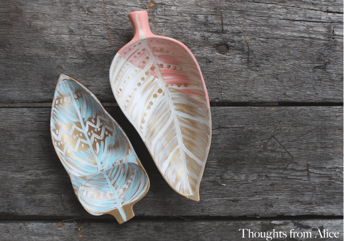 Handpainted wood leaf trays from the thrift store