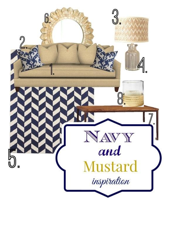 Navy and mustard inspired living room