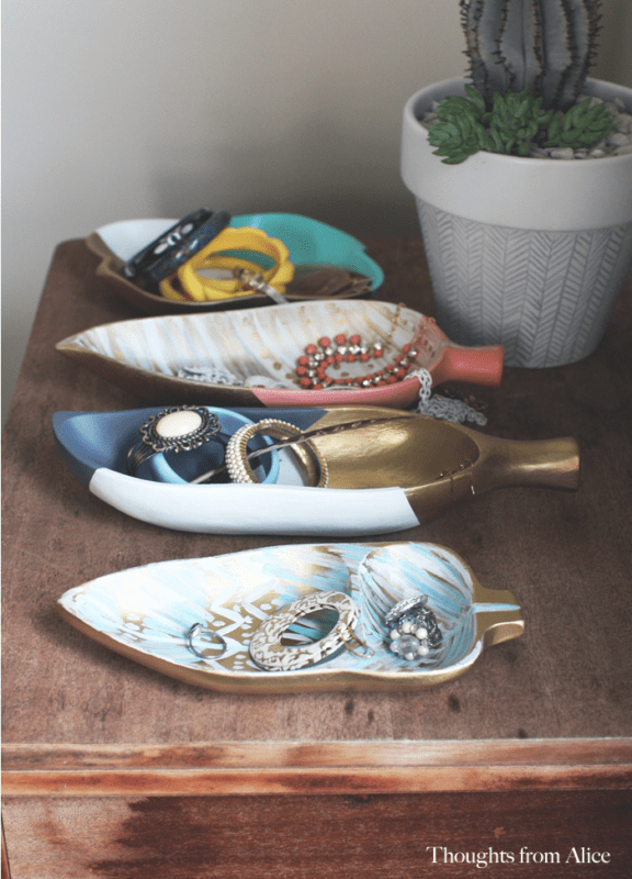Painted boho trays upcycled from the thrift store